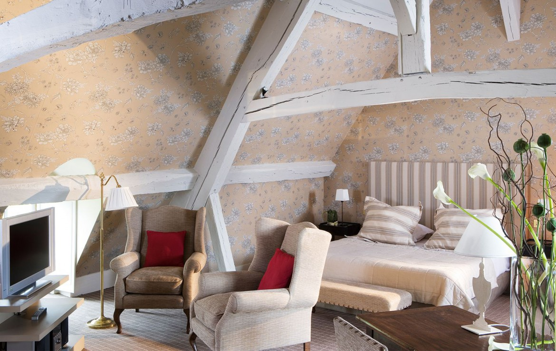 Golf-reizen-frankrijk-regio-parijs-Chateau-de-Villiers-le-Mahieu-slaapkamer-bovenste-verdieping-met-tv-golf-expedition