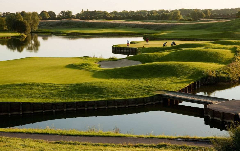 Golf-reizen-frankrijk-regio-parijs-Novotel-Saint-Quentin-Golf-National-golfbaan-gelegen-aan-novotel-water-hazard-bunkers-bruggetje-golf-expedition